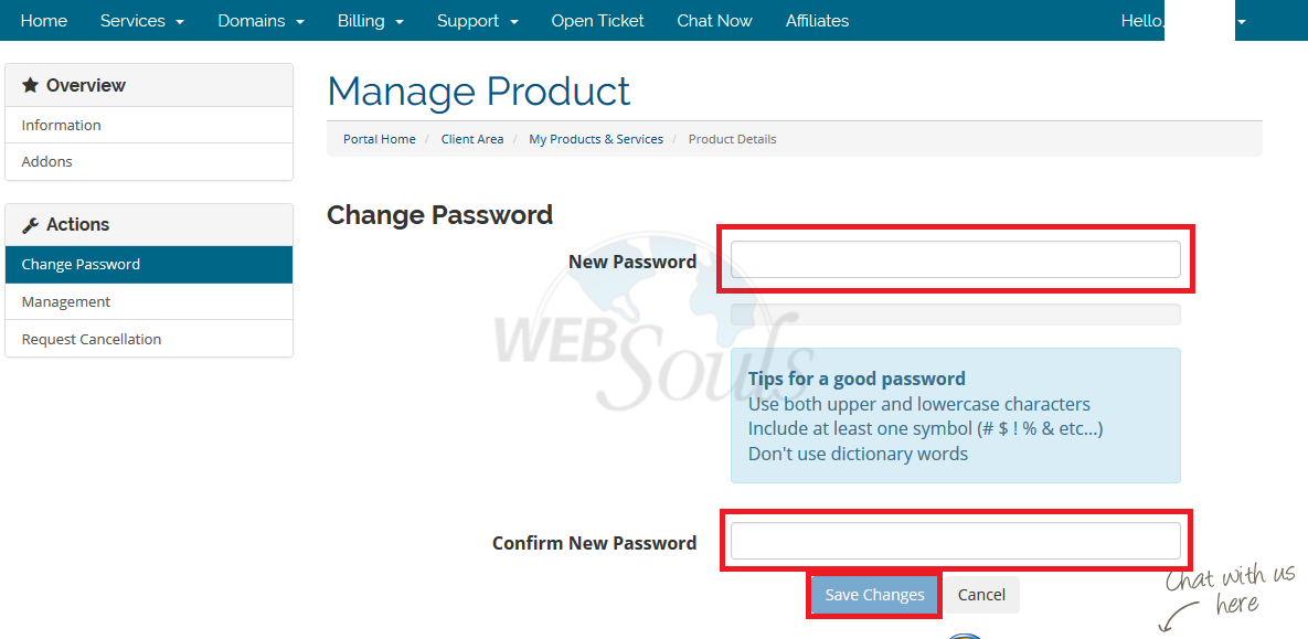 How to change Cpanel password from Client Area?